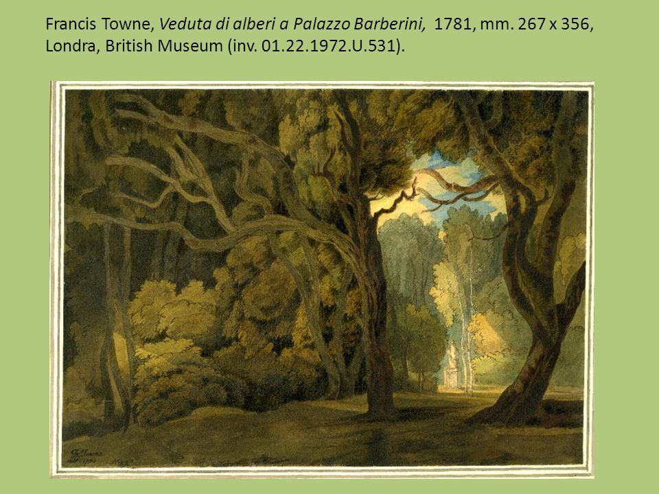 Francis Towne, Veduta di alberi a Palazzo Barberini, 1781, mm