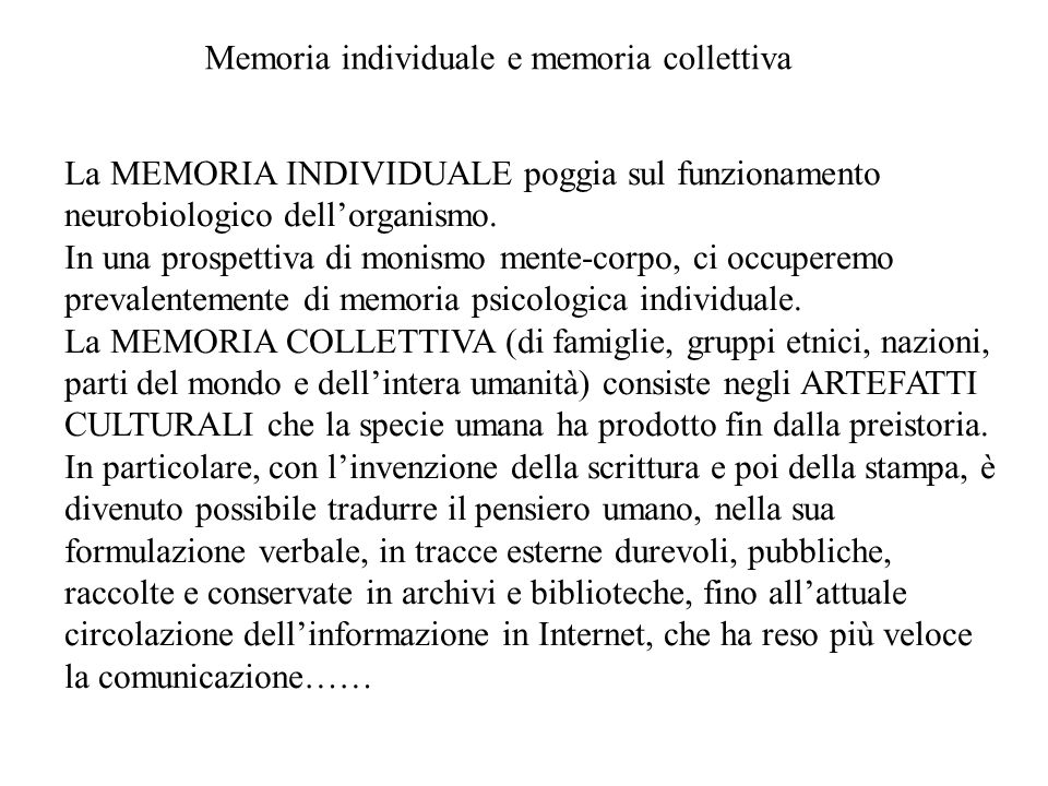 Memoria individuale e memoria collettiva
