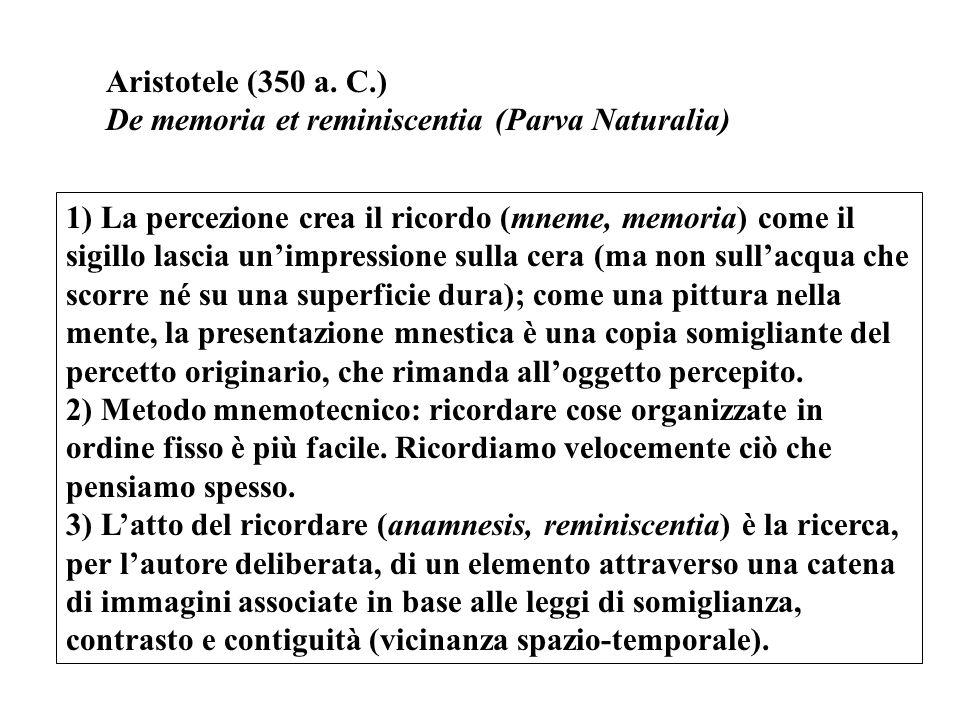 Aristotele (350 a. C.) De memoria et reminiscentia (Parva Naturalia)