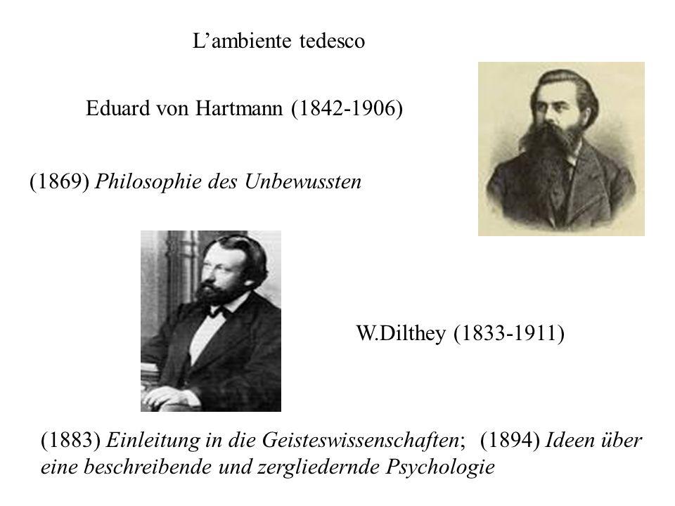 L'ambiente tedesco Eduard von Hartmann (1842-1906) (1869) Philosophie des Unbewussten. W.Dilthey (1833-1911)