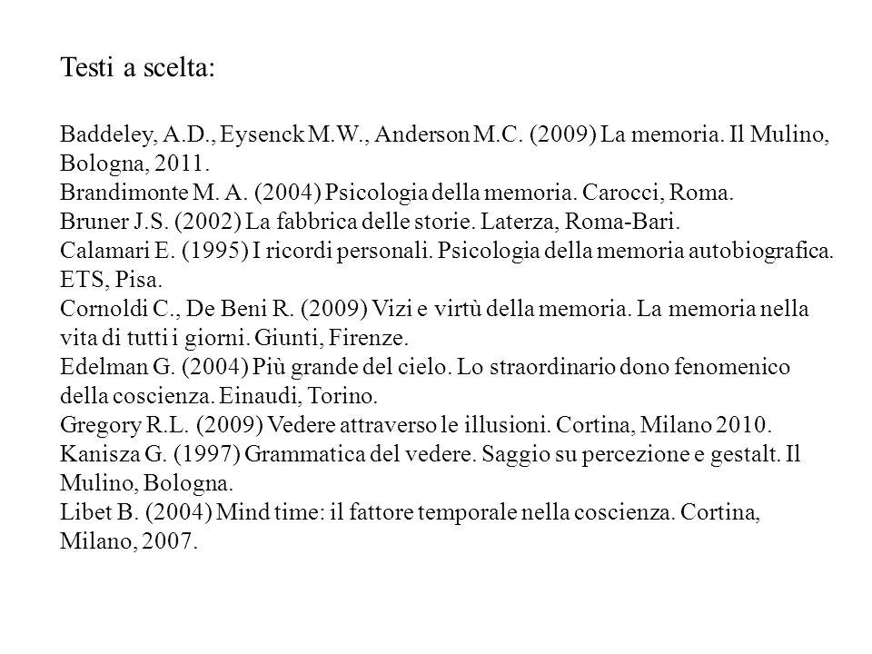 Testi a scelta: Baddeley, A.D., Eysenck M.W., Anderson M.C. (2009) La memoria. Il Mulino, Bologna, 2011.