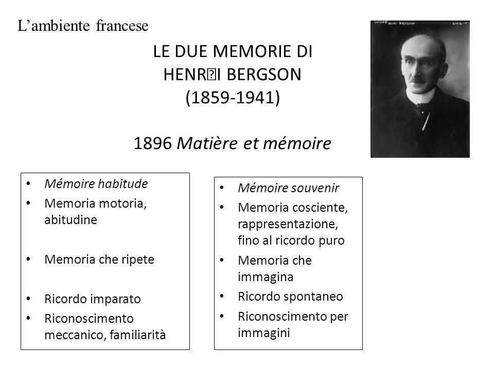 LE DUE MEMORIE DI HENRI BERGSON (1859-1941) 1896 Matière et mémoire