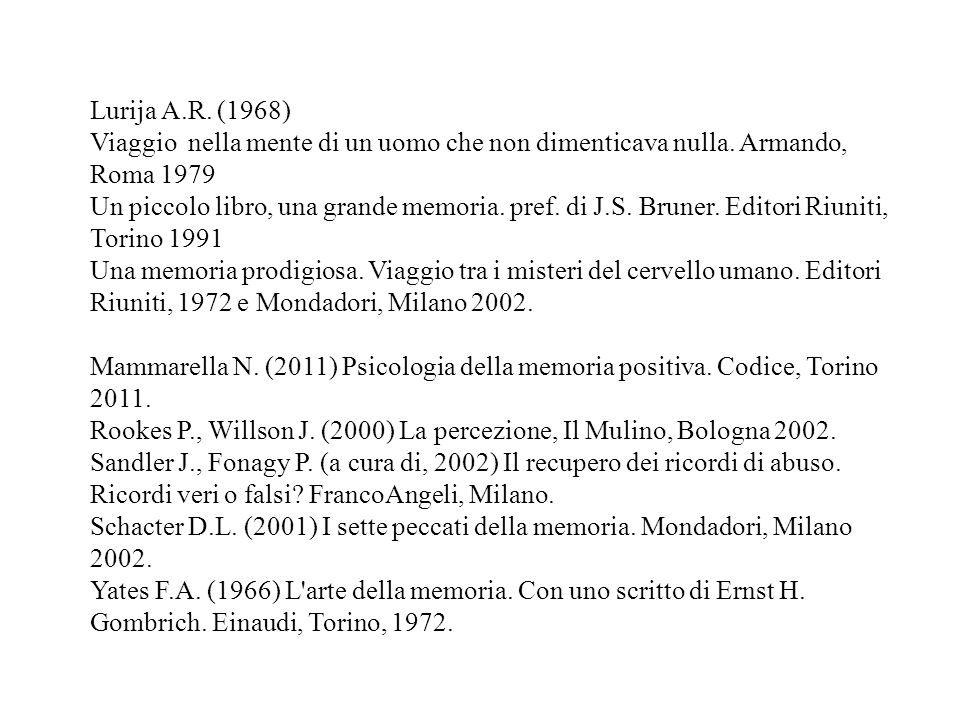 Lurija A.R. (1968) Viaggio nella mente di un uomo che non dimenticava nulla. Armando, Roma 1979.