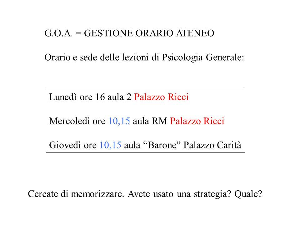 G.O.A. = GESTIONE ORARIO ATENEO