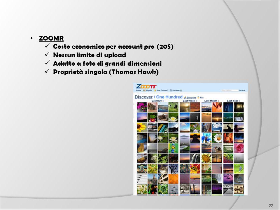 ZOOMR Costo economico per account pro (20$) Nessun limite di upload. Adatto a foto di grandi dimensioni.
