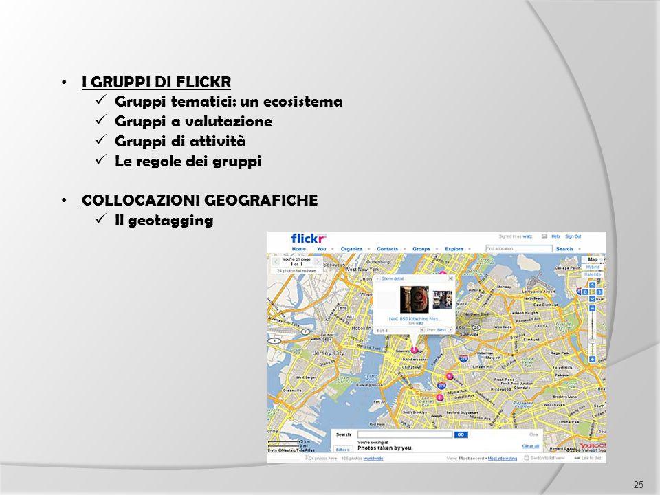 I GRUPPI DI FLICKR Gruppi tematici: un ecosistema. Gruppi a valutazione. Gruppi di attività. Le regole dei gruppi.
