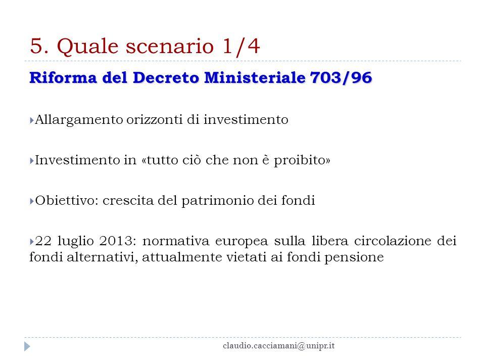 5. Quale scenario 1/4 Riforma del Decreto Ministeriale 703/96