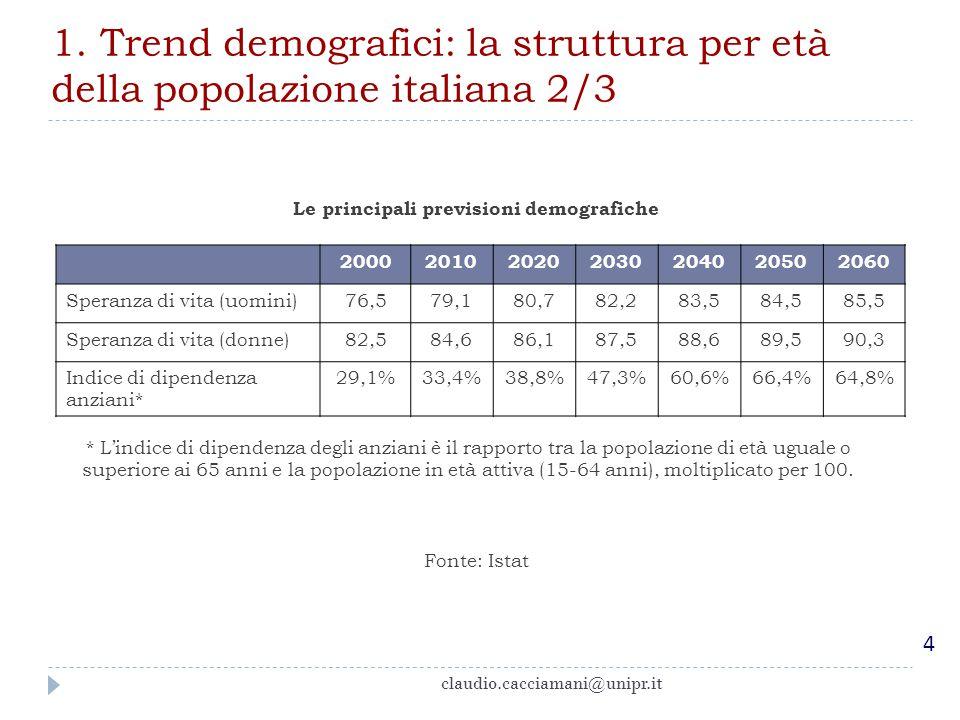 Le principali previsioni demografiche