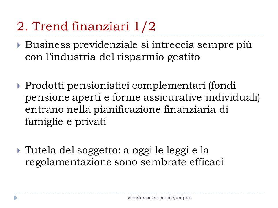 2. Trend finanziari 1/2 Business previdenziale si intreccia sempre più con l'industria del risparmio gestito.