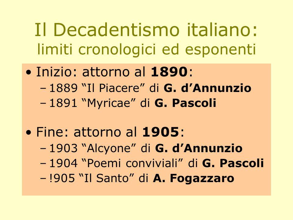 Il Decadentismo italiano: limiti cronologici ed esponenti