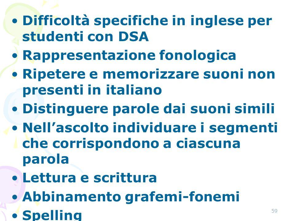 Difficoltà specifiche in inglese per studenti con DSA