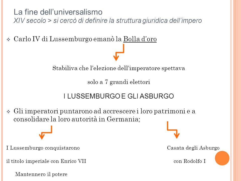 La fine dell'universalismo XIV secolo > si cercò di definire la struttura giuridica dell'impero