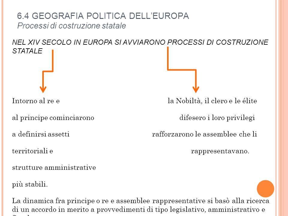 6.4 GEOGRAFIA POLITICA DELL'EUROPA Processi di costruzione statale