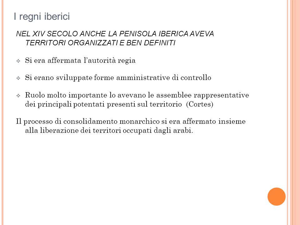 I regni iberici NEL XIV SECOLO ANCHE LA PENISOLA IBERICA AVEVA TERRITORI ORGANIZZATI E BEN DEFINITI.