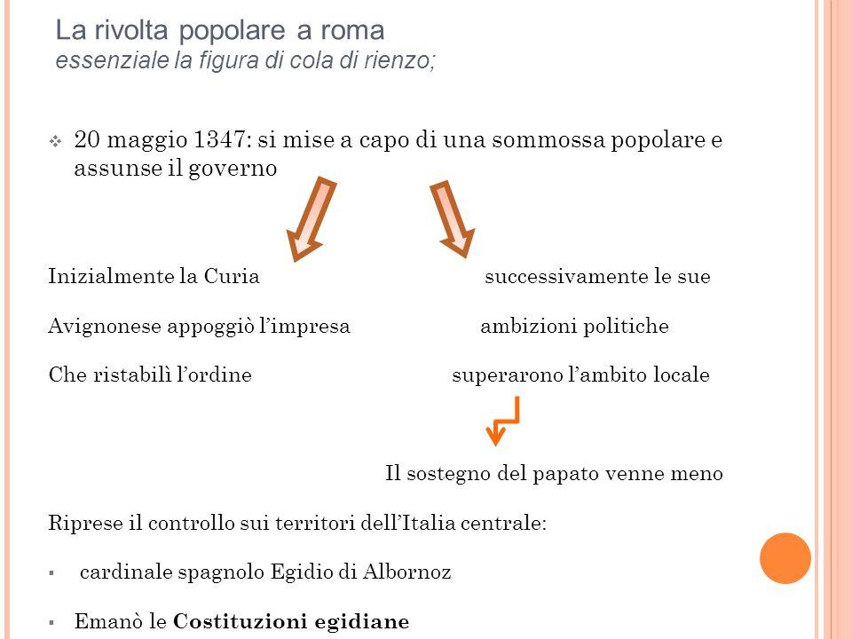 La rivolta popolare a roma essenziale la figura di cola di rienzo;