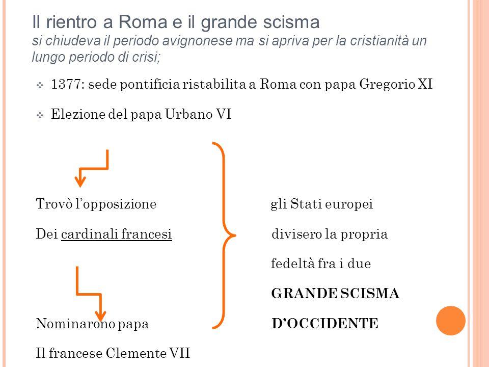 Il rientro a Roma e il grande scisma si chiudeva il periodo avignonese ma si apriva per la cristianità un lungo periodo di crisi;
