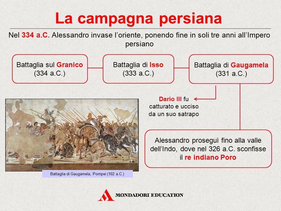 La campagna persiana Nel 334 a.C. Alessandro invase l'oriente, ponendo fine in soli tre anni all'Impero persiano.