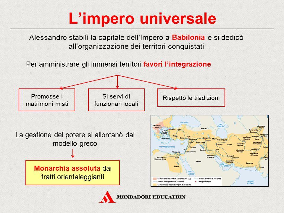 L'impero universale Alessandro stabilì la capitale dell'Impero a Babilonia e si dedicò all'organizzazione dei territori conquistati.