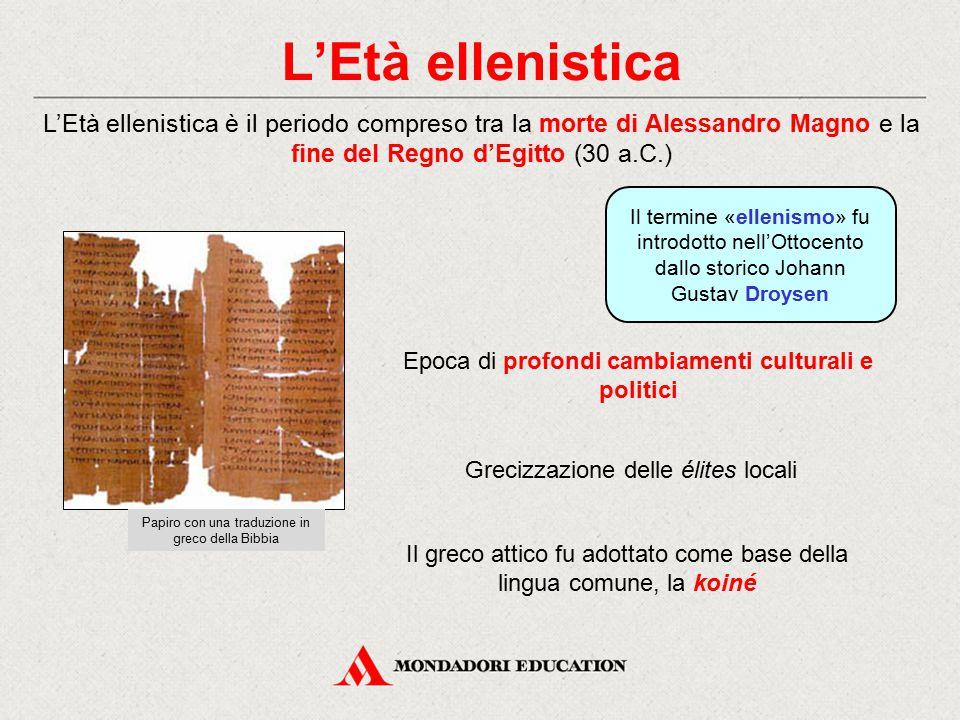 L'Età ellenistica L'Età ellenistica è il periodo compreso tra la morte di Alessandro Magno e la fine del Regno d'Egitto (30 a.C.)
