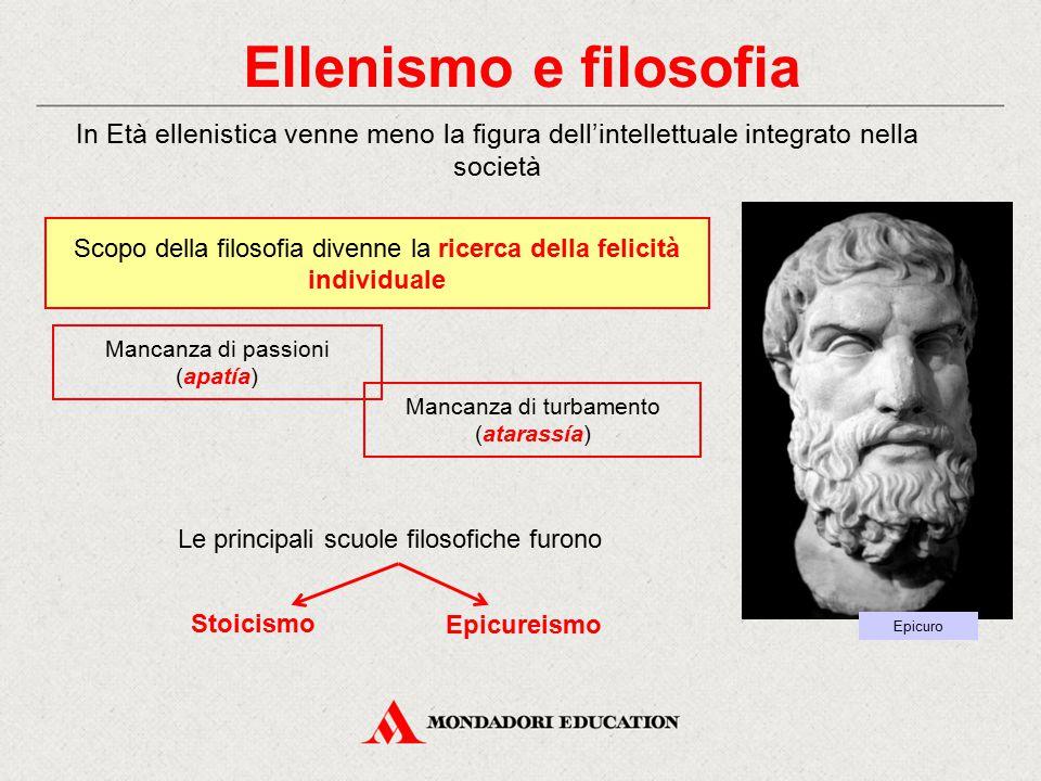 Ellenismo e filosofia In Età ellenistica venne meno la figura dell'intellettuale integrato nella società.