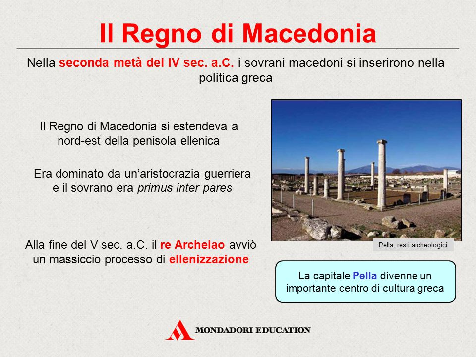 Il Regno di Macedonia Nella seconda metà del IV sec. a.C. i sovrani macedoni si inserirono nella politica greca.