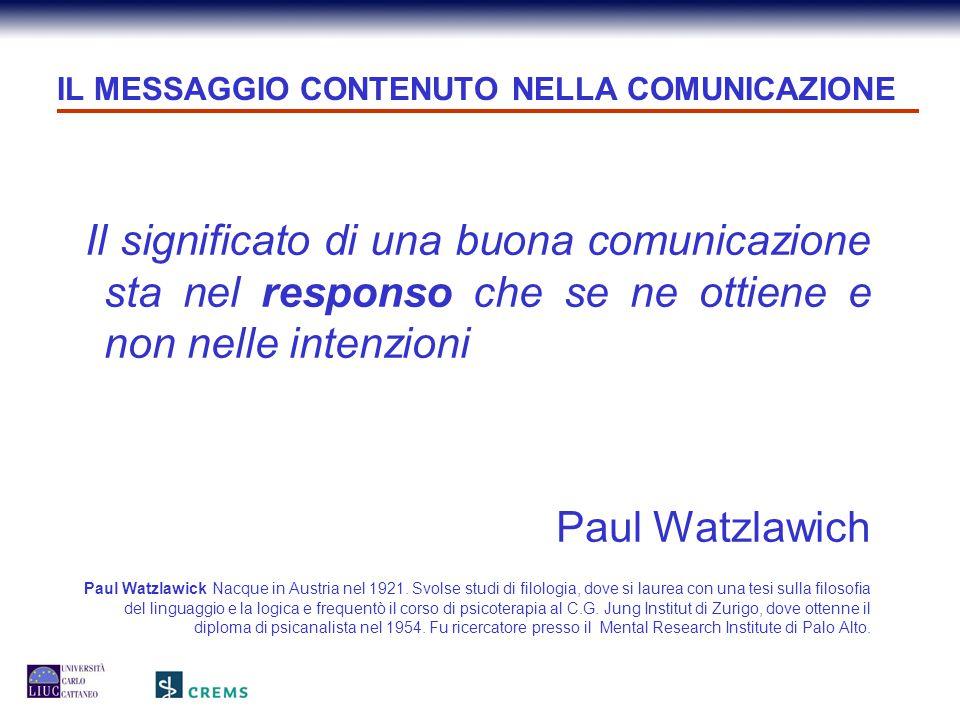 IL MESSAGGIO CONTENUTO NELLA COMUNICAZIONE