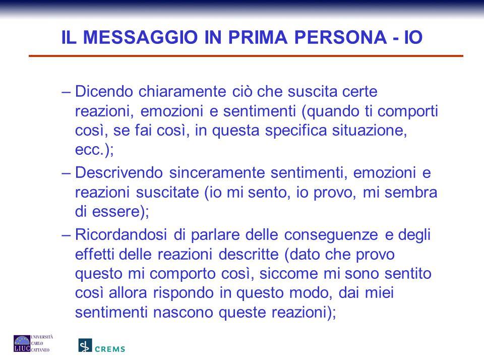 IL MESSAGGIO IN PRIMA PERSONA - IO