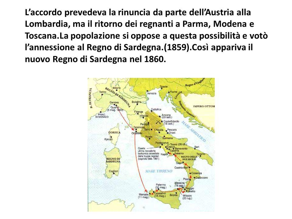 L'accordo prevedeva la rinuncia da parte dell'Austria alla Lombardia, ma il ritorno dei regnanti a Parma, Modena e Toscana.La popolazione si oppose a questa possibilità e votò l'annessione al Regno di Sardegna.(1859).Così appariva il nuovo Regno di Sardegna nel 1860.