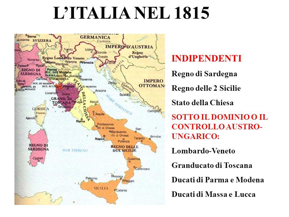 L'ITALIA NEL 1815 INDIPENDENTI Regno di Sardegna Regno delle 2 Sicilie