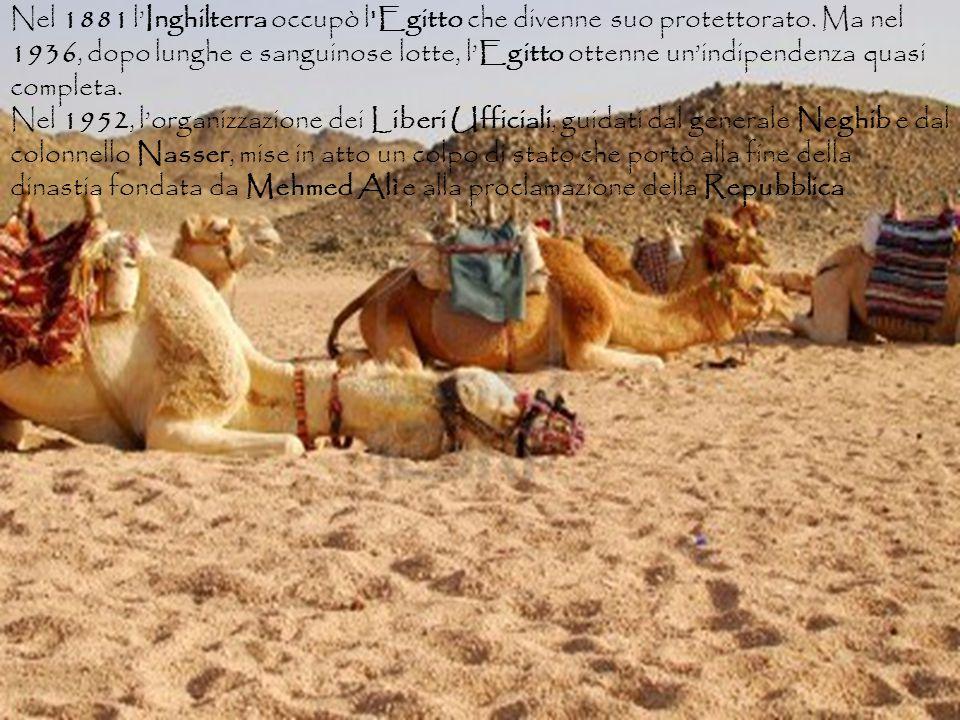 Nel 1881 l'Inghilterra occupò l Egitto che divenne suo protettorato