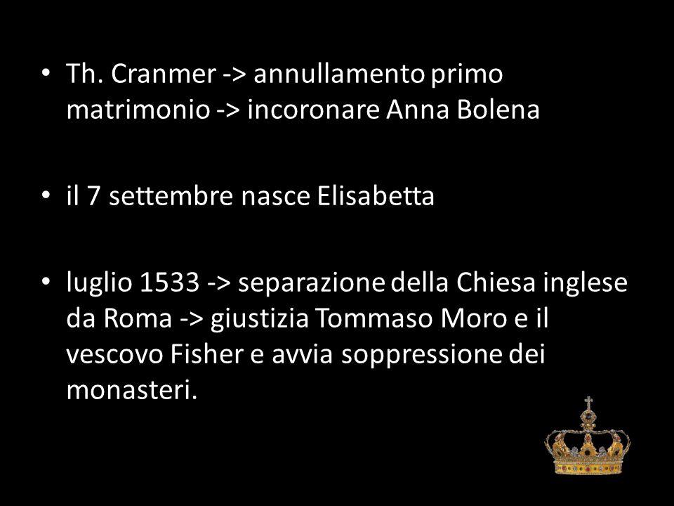 Th. Cranmer -> annullamento primo matrimonio -> incoronare Anna Bolena