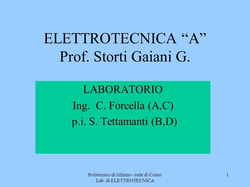 ELETTROTECNICA A Prof. Storti Gaiani G.