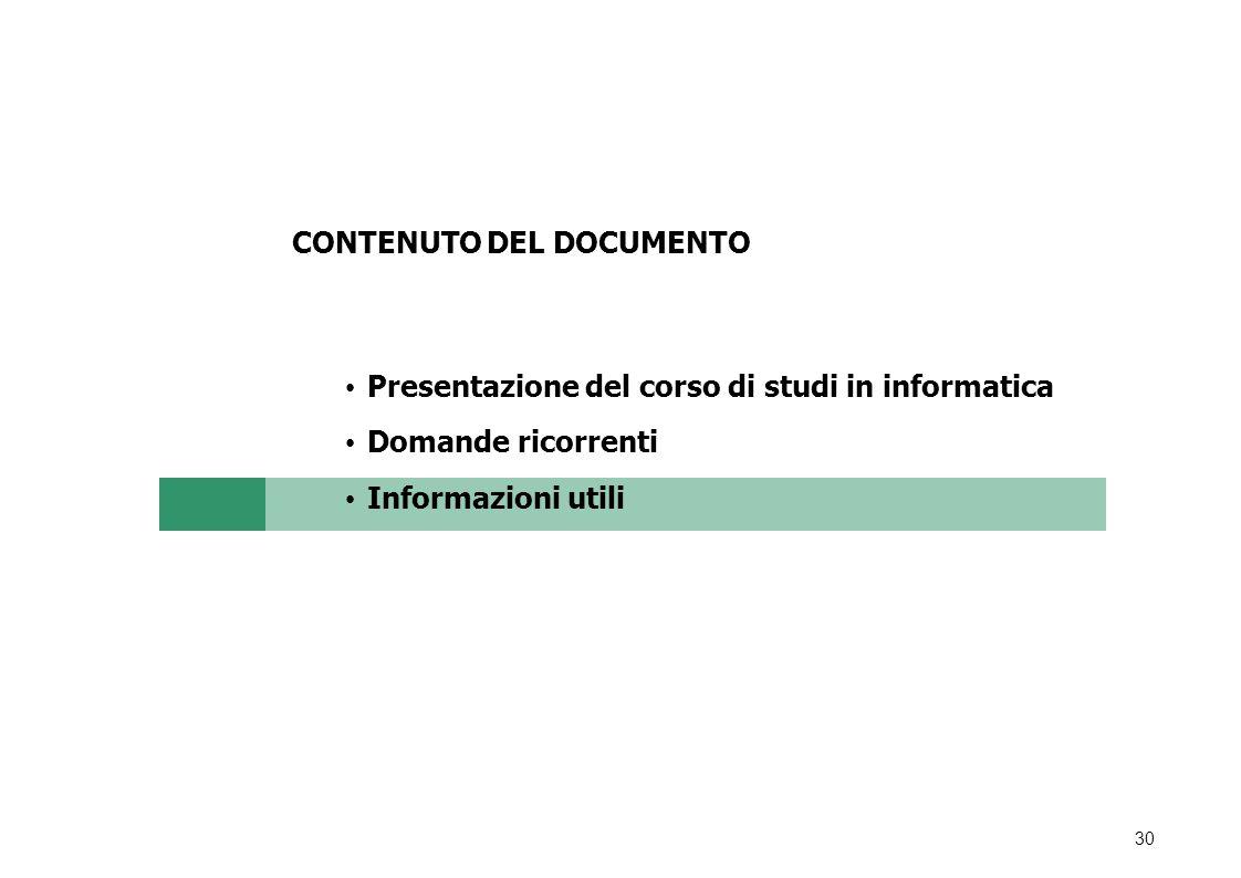 CONTENUTO DEL DOCUMENTO