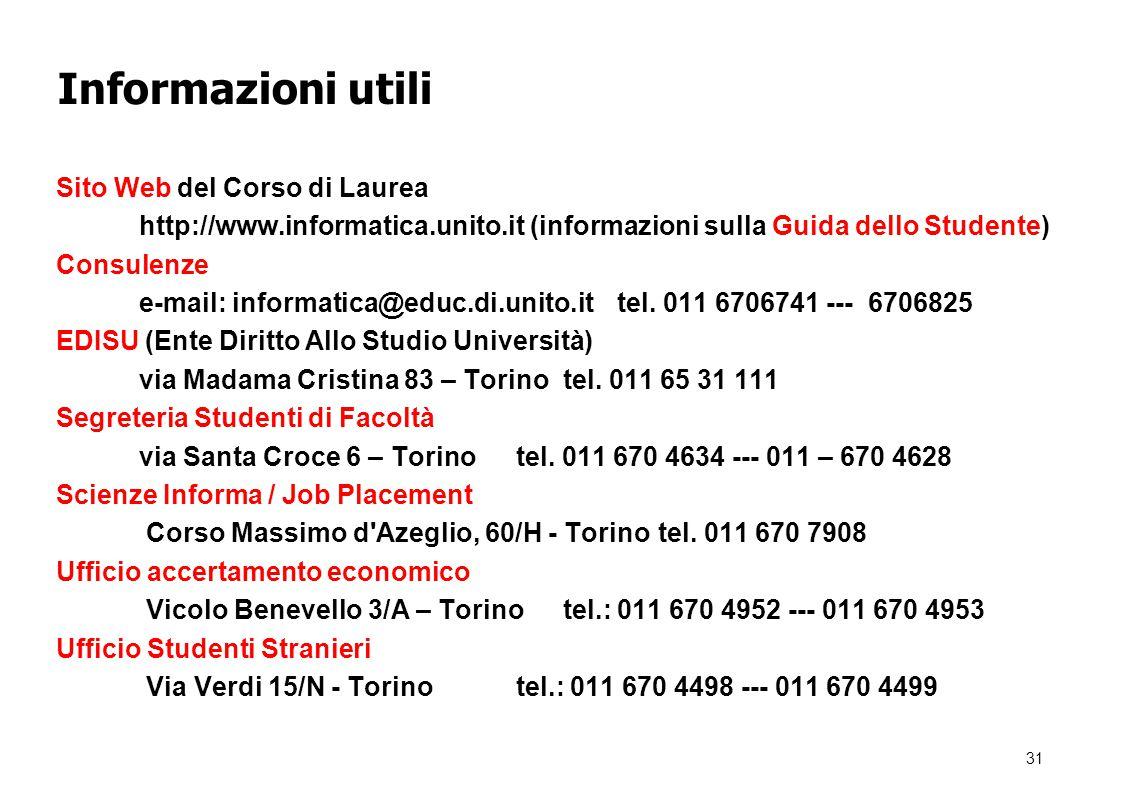 Informazioni utili Sito Web del Corso di Laurea