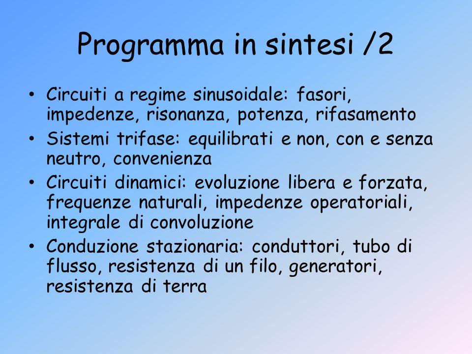 Programma in sintesi /2 Circuiti a regime sinusoidale: fasori, impedenze, risonanza, potenza, rifasamento.