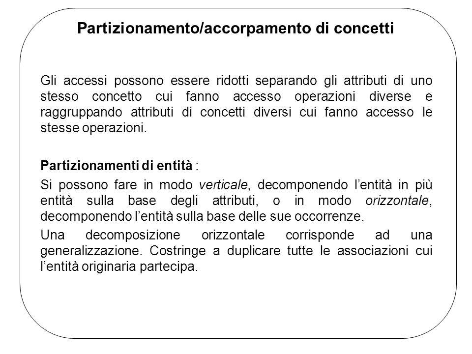 Partizionamento/accorpamento di concetti