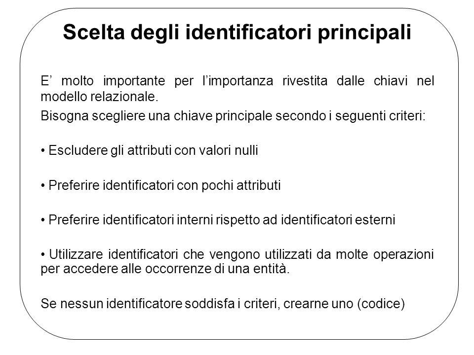 Scelta degli identificatori principali