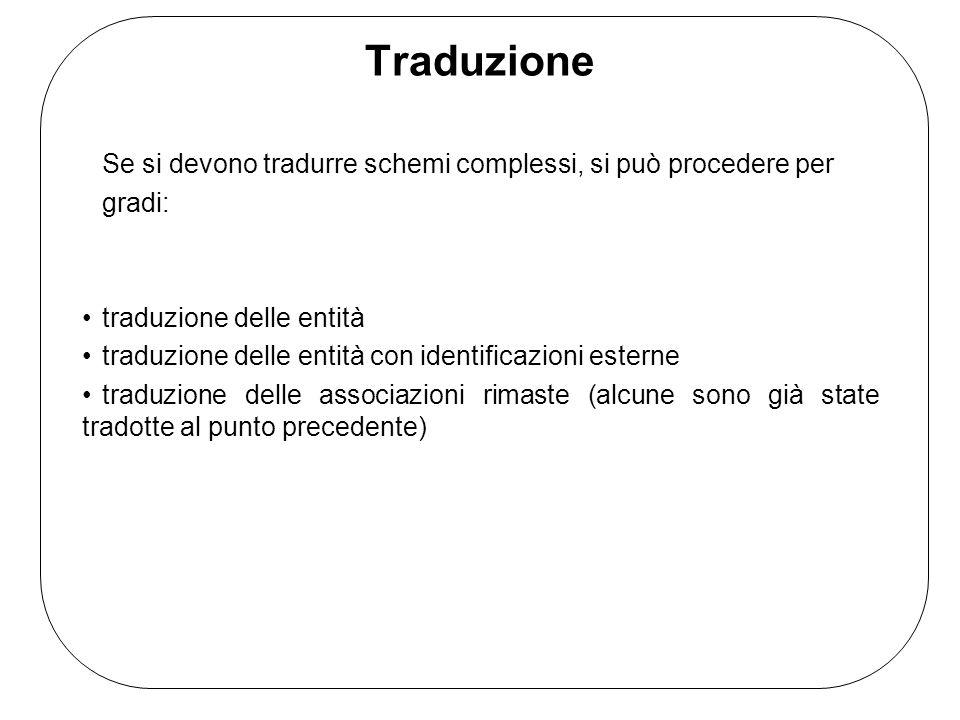 Traduzione Se si devono tradurre schemi complessi, si può procedere per. gradi: traduzione delle entità.