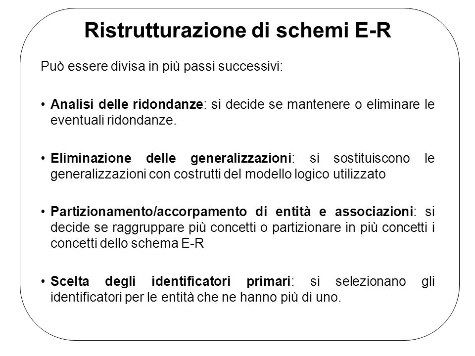 Ristrutturazione di schemi E-R