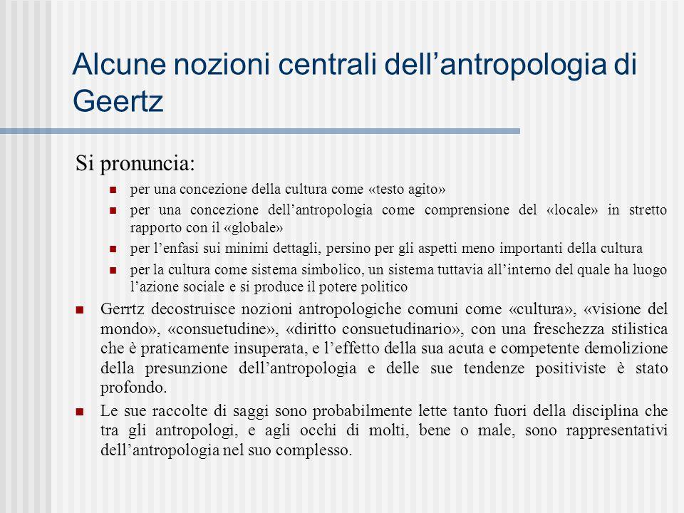 Alcune nozioni centrali dell'antropologia di Geertz