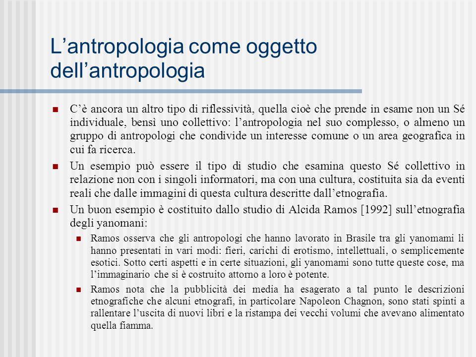 L'antropologia come oggetto dell'antropologia