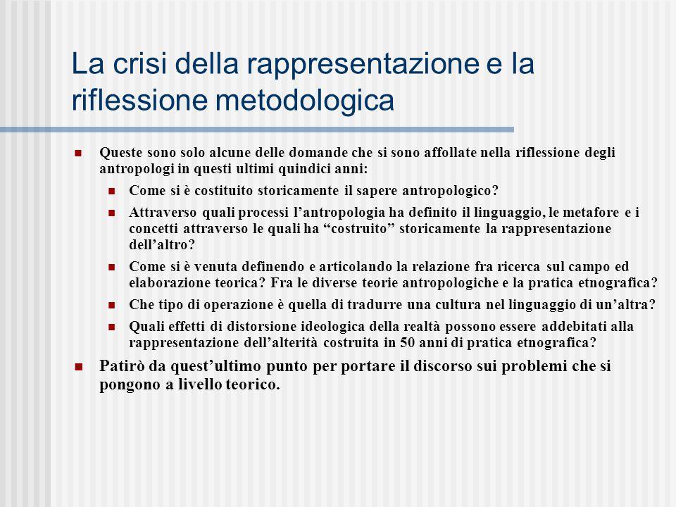 La crisi della rappresentazione e la riflessione metodologica