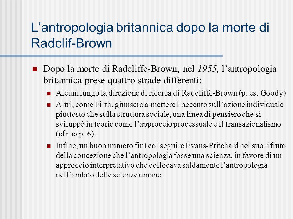 L'antropologia britannica dopo la morte di Radclif-Brown