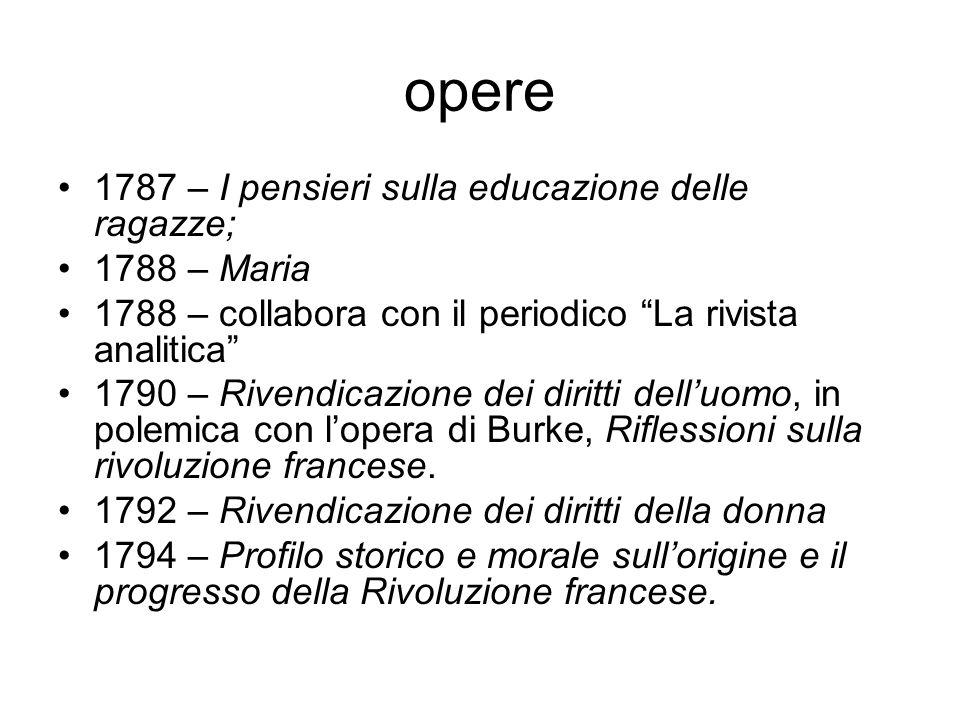 opere 1787 – I pensieri sulla educazione delle ragazze; 1788 – Maria