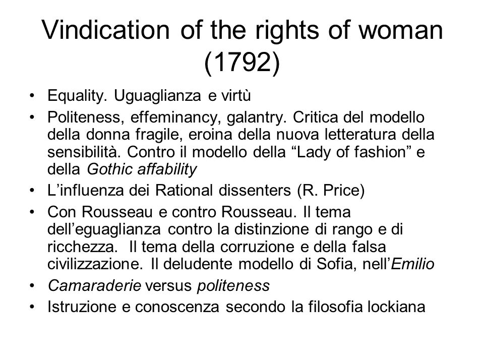 Vindication of the rights of woman (1792)