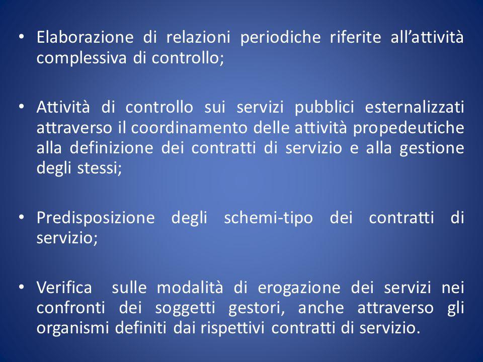 Elaborazione di relazioni periodiche riferite all'attività complessiva di controllo;