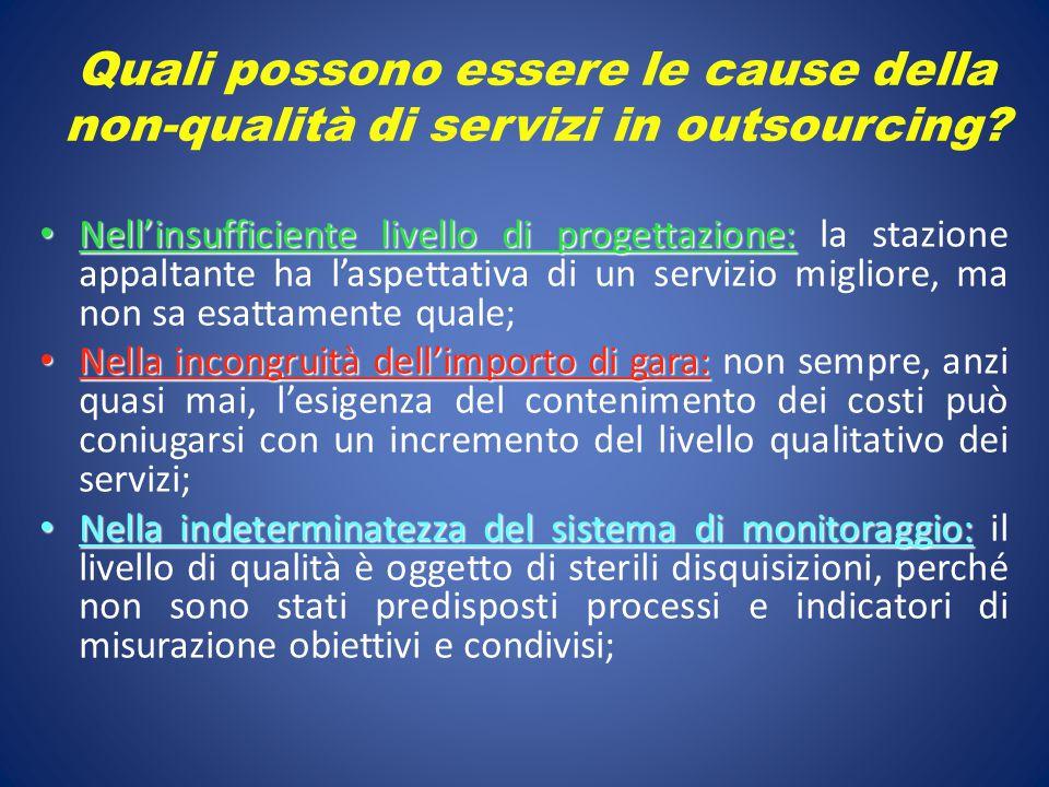 Quali possono essere le cause della non-qualità di servizi in outsourcing