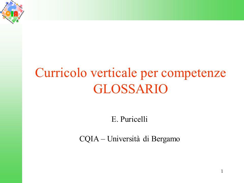 Curricolo verticale per competenze GLOSSARIO