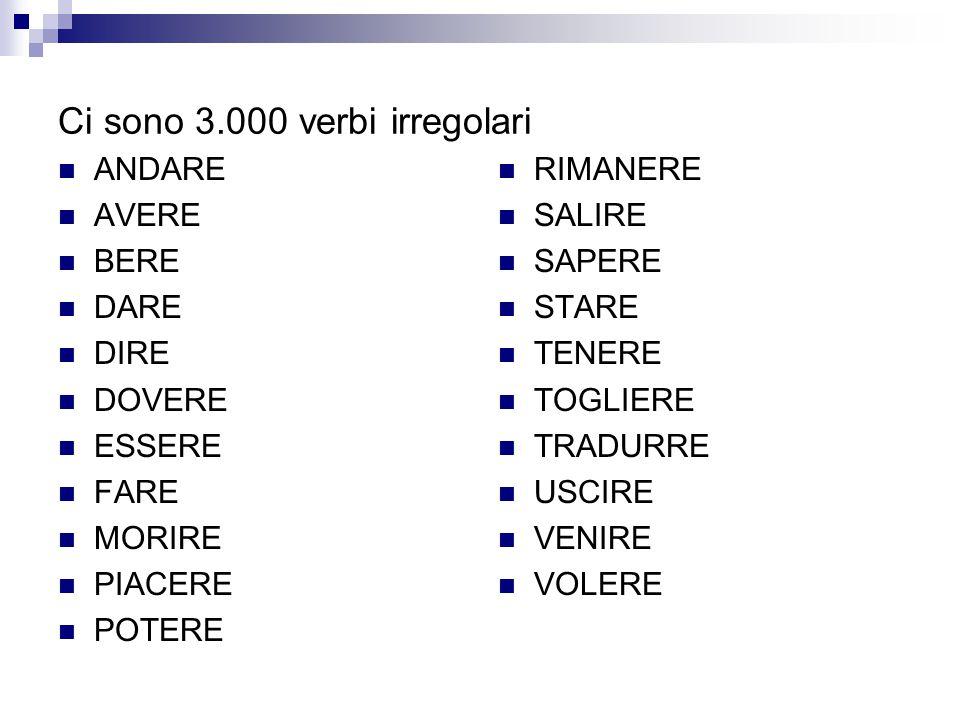 Ci sono 3.000 verbi irregolari
