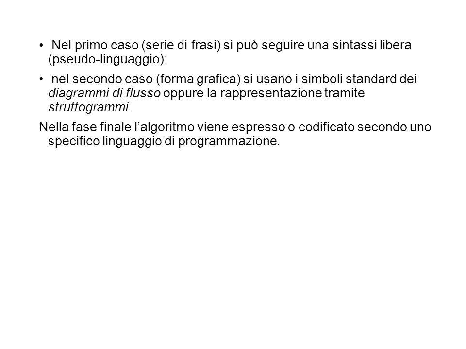 Nel primo caso (serie di frasi) si può seguire una sintassi libera (pseudo-linguaggio);